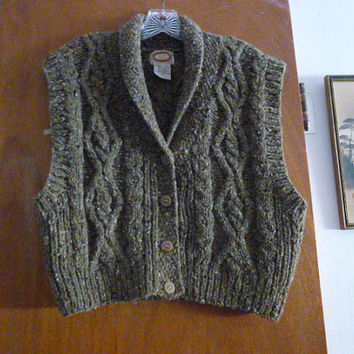 Womens Vintage Banana Republic Wool Tweed Sweater Knit Vest M Medium