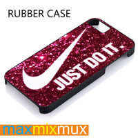 Nike Just Do It On Pink Sparkle Glitter iPhone 4/4S, 5/5S, 5C, 6/6 Plus Series Rubber Case