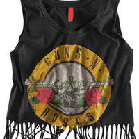 Sleeveless Guns N Roses Graphic Print Tasseled Crop Top in Black