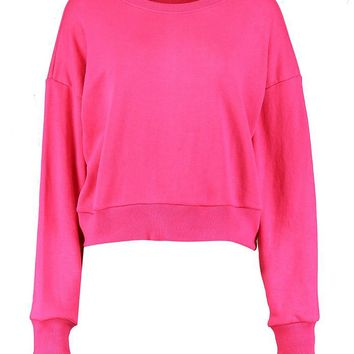 Harriet Oversized Slouchy Crop Sweatshirt | Boohoo