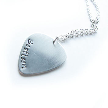 Customize Guitar Pick Hand Stamped Necklace