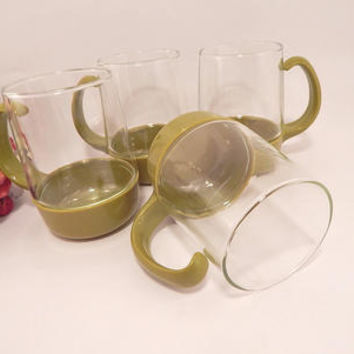 Clear Glass Mug Pyrexware Drinkware Olive Green Base with Handle Hot Cold Beverage Serving Cup