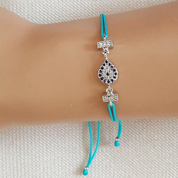 Evil eye bracelet, silver evil eye, zircon jewelry, turquoise string bracelet, turkish jewelry, istanbul jewelry, best friend gift