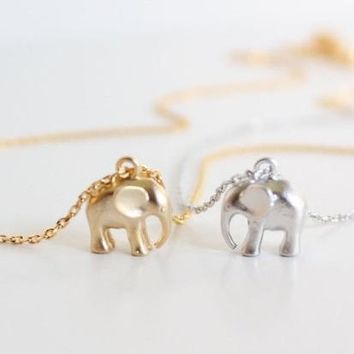 ON SALE - Tiniest Elephant Pendant Necklace
