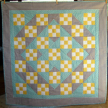 Modern Houndstooth Baby Quilt with Teal and Goldenrod by SewAbundantly on Etsy