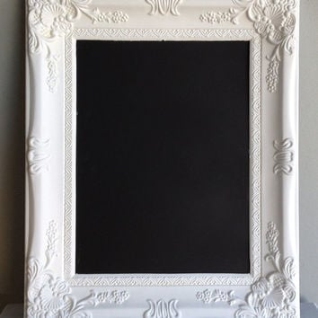 WHITE BAROQUE CHALKBOARD Wedding Sign Vintage Decor Ornate Framed Chalk Board Nursery Maternity Photo Shoot