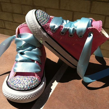 PRINCESS CINDERELLA SHOES - Swarovski Crystals - Sparkle Toes - Halloween costume - Pink Converse shoes- Sizes 2-13