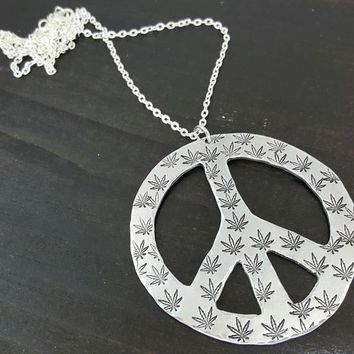 Extra Large Cannabis Leaf Patterned Peace Sign Necklace