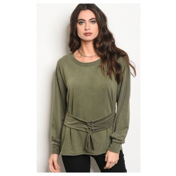 Simply Adorable! Lace Up Belted Olive Tunic