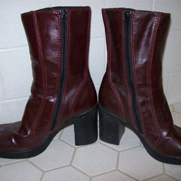 Chunky Heels Boots Women's Size 6.5