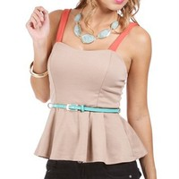 Tan/Coral Belted Peplum Top