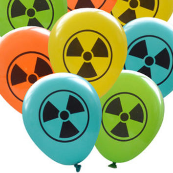 Radioactive Symbol Science Balloons - Pack of 8 | Geeky Party Birthday Decorations Teacher Mad Scientist Chemist Physicist Zombie Kids Party
