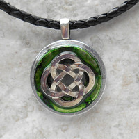 celtic knot necklace: green - mens jewelry - mens necklace - celtic jewelry - boyfriend gift - leather cord - irish jewelry - unique gift