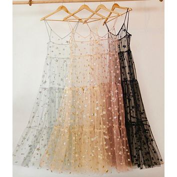 Pink Stars Sequined Dress Women 2019 Spring Summer Sweet Ladies Spaghtti Strap Princess Black Lace Tulle Party Dresses Holiday