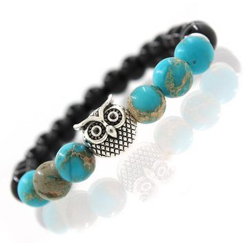 Owl Natural Stone  Beads Bracelet & Bangle for Men Women Stretch Yoga Jewelry Fashion Accessories Gifts for Lovers Drop Shipping