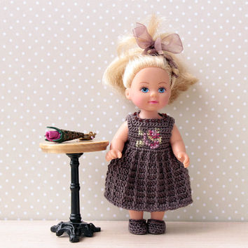 "Doll Dress, Crochet Doll Dress, Doll Clothes, Violet,  Handmade Doll Dress for 4"" dolls crocheted with cotton thread"