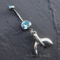 Whale Tail Belly Button Jewelry Ring- Crystal Belly Ring- Silver Cute Charm Dangle Navel Piercing Bar Barbell- B037