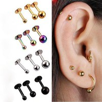 2Pcs Surgical Stainless Steel Tragus Helix Bar Ball Eyebrow Nose Lip Cartilage Top Upper Ear Studs Body Piercing Jewelry