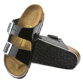 Birkenstock Arizona Leather Black Patent 0652741/0652743 Sandals