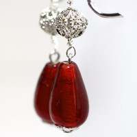 Red teardrom glass bead w/Filigree beads by 8hens on Etsy