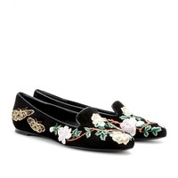 alexander mcqueen - embroidered suede loafers