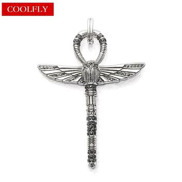Thomas Style Egyptian Cross Of Life Ankh with Scarab Pendants Retro Amulets Angel Wings Glam Fashion Jewelry Gift For Women Men