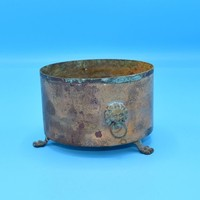 Brass Copper Footed Small Planter Vintage Brass Lion Heads 3 Feet Copper Pot French Country Primitive Patina Decor FREE SHIPPING