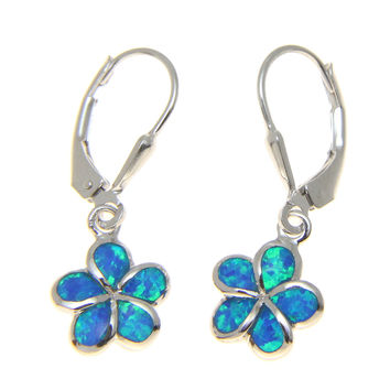 925 SILVER RHODIUM INLAY OPAL 10MM HAWAIIAN PLUMERIA FLOWER LEVERBACK EARRINGS