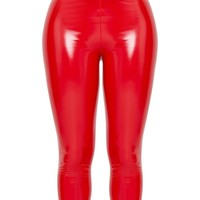 Shape Red High Waist Vinyl Leggings