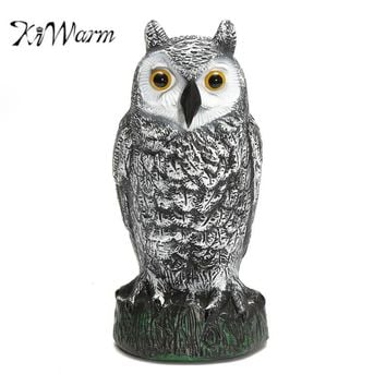KiWarm Realistic Owl Decoy Figurines Statues Garden Protection Pest Repellent Bird Scarer Sculptures Home Garden Ornament Crafts