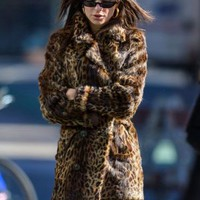 Emily Ratajkowski in Leopard Fur Coat - Out in NYC