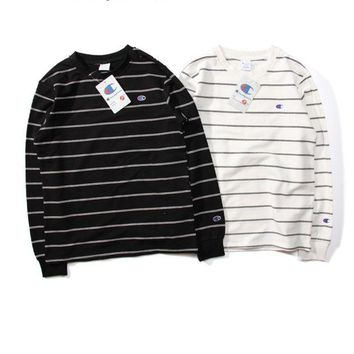 VONEFC2 Champion Striped Long-Sleeved Round Neck Sweater