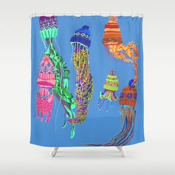 Cool Jellyfish Shower Curtain by Rachel Hoffman