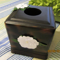 Tissue Holder - Up-Cycles Cottage Chic Dark Brown Heavy Tissue Holder with White Flower Accents