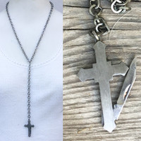 cross Pocket Knife Necklace fob. 1970s retro religious jewelry. Y necklace. Hipster jewelry. High fashion design s9