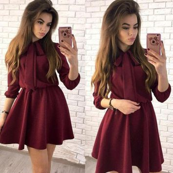Vintage Bow Tie Full Sleeve Women A-Line Dresses