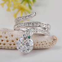 Reptile Snake Silver Tone Crystals Accents Fashion Ring