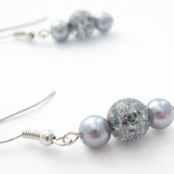 Gray Beaded Earrings Glass Crackle Beads & by MoonlightShimmer