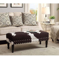 Faux Cowhide Bench with Nailhead
