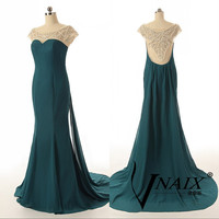 Long Chiffon Prom Dress See Through Beaded Pearl Back Prom Dress Back Elegant Custom Made Prom dress Mermaid Prom Dress Cap Sleeve Green