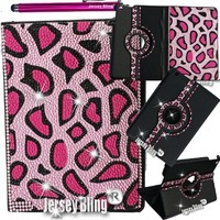 PINK Cheetah Leopard Jersey Bling® Ipad Air Case with Crystals, Rhinestones Faux Leather Folio with 360 Rotating Case w/FREE Stylus & XTRA BLING!