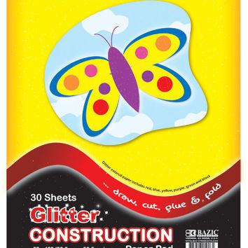 "bazic 30 ct. 9"" x 12"" glitter construction paper pad Case of 48"