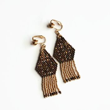 Dressy Clip-on Earrings In Gold Tone And Metallic Gold Iris