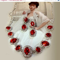 Wedding jewelry set ,bridesmaid jewelry set, Bridal necklace earrings, vintage inspired rhinestone bridal statement, Red crystal jewelry set
