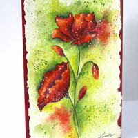 "Watercolor Card, Poppies,  Handpainted, Cotton Rag Paper, Pink Poppies, 5""x7"", Watercolour Card"