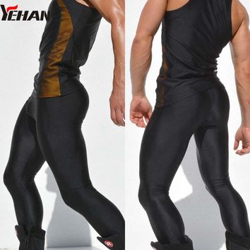 Yehan Running Tights Men High Stretch Solid Color Low Waist Sports Legging Men Nylon Quick Dry pantalones fitnees hombre
