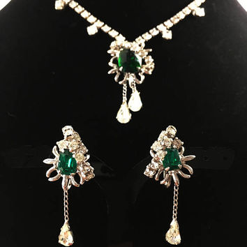 Unsigned La Rel Vintage Demi Parure Rhinestone Jewelry Set, Green Rhinestone Wedding Jewelry, 1950s Era Prom or Bridal Necklace and Earrings