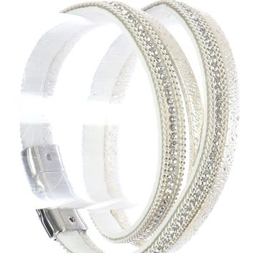 White Two Strand Suede Band Bracelet