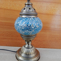Turkish handmade turquoise colour decorative glass mosaic table lamp, desk light, bedroom lamp, night light.