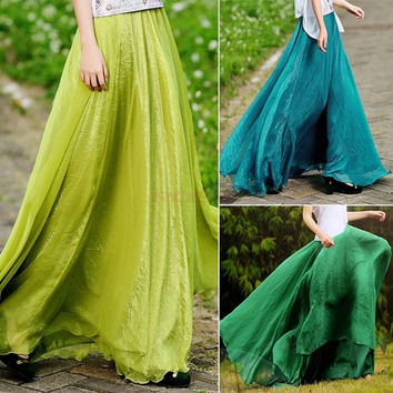 Women Sexy Summer Skirts New Retro Lady Full Circle Boho Gauze Chiffon Long Skirt Pleated Long Maxi Skirt SV002728 One Size = 1946896388